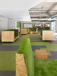 Chartboost's turfed chairs bring the feeling of sitting on the lawn right inside.