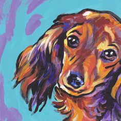 red long haired dachshund print of bright pop art Painting colorful dog Dachshund Art, Long Haired Dachshund, Funny Dachshund, Daschund, Dachshund Puppies, Dachshund Tattoo, Tiny Puppies, Dog Portraits, Portrait Art