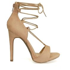 Evelyn-59 Almond Beige Lace Up Strappy Gladiator High Heels ($35) ❤ liked on Polyvore featuring shoes, sandals, gladiator shoes, high heel sandals, lace up sandals, high heel shoes and laced up gladiator sandals