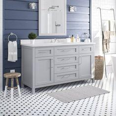 "Gracie Oaks Guang 60"" Single Bathroom Vanity Set | Wayfair White Vanity Bathroom, Bathroom Vanity Cabinets, Vanity Sink, 60 Inch Vanity, Bathroom Styling, Bathroom Ideas, Bathroom Inspiration, Single Doors, Single Sink"