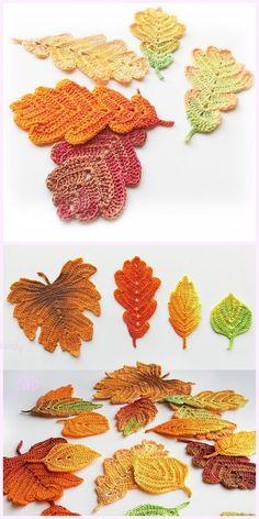 Crochet amigurumi 637963103452783338 - Crochet Fall Leaves Free Crochet Patterns & Paid – Source by Crochet Leaf Patterns, Crochet Leaves, Crochet Motifs, Crochet Flowers, Crochet Stitches, Knitting Patterns, Autumn Crochet, Diy Flowers, Crochet Pillow
