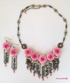 Pink Jewelry Flower Jewelry Wedding Jewelry Pink by insoujewelry