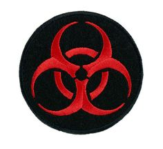 Toxic Red Biohazard Sign Patch Iron on Applique Horror Clothing Zombie Apocalypse from Dysfunctional Doll. Pin And Patches, Iron On Patches, Jacket Patches, Halloween Vampire, Halloween Horror, Security Badge, Arte Nerd, Zombie Movies, Crochet Home Decor
