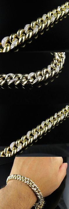 Bracelets 137835: Solid 10K Yellow Gold 9Mm Wide Miami Cuban Link 8.5 Inch Diamond Bracelet 1.20Ct BUY IT NOW ONLY: $1499.99