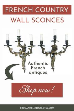 Looking for antique French sconces for your home ? These gold lights are coming directly from small flea markets in France. Our shop Brocante Ma Jolie offers a selection of authentic French piees, whether it's for your living room, bedroom or entrance ! #brocantemajolie #frenchcountry #sconces #vintage #vintagesconces #antiquesconces #frenchantiques French Country Living Room, French Country Bedrooms, French Country Style, Vintage Country, Vintage Decor, Country Bathrooms, French Decor, French Country Decorating, Chic Living Room