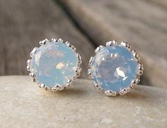 Opalite Studs-Opal Earrings-Opalite Earrings-Stone Post Earrings-Gemstone Studs-Stone Earrings-Silver Stud Earrings-Stone Studs on Etsy, $47.99