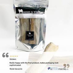 Thank you Rosie Iacuccio from Bones and Whiskers for trusting OzStickerPrinting as your sticker provider. We are pleased to know that you're happy with the outcome and how it adds beauty to your dog treat products. Custom Sticker Labels, Custom Labels, Printing Labels, Dog Treats, Bones, Packaging, Happy, How To Make, Beauty