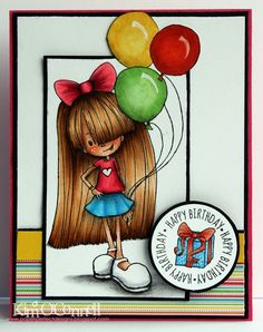 """Paper Perfect Designs by Kim O'Connell: Tiddly Inks """"Starry Birthday"""" Birthday Cards, Happy Birthday, Tiddly Inks, Ink Stamps, Copics, Copic Markers, Birthday Balloons, Projects To Try, Card Making"""