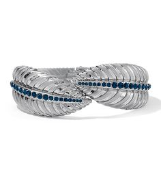 Palmas Bracelet  As seen on the Red Carpet Hinged Cuff Bracelet Montana Blue Cut Crystals in Matte Silver Lifetime Guarantee
