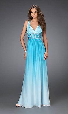 Floor Length Sheath Slit Halter Sequined Top Ice Blue Chiffon Prom ...
