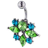 Pugster 316l Surgical Steel Green And Indicolite Crystal Cluster Flower Belly Navel Rings