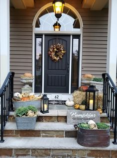 Our Decorated Fall Front Porch - Cloches & Lavender Autumn Garden, Autumn Inspiration, Porch Decorating, Front Porch, Diy And Crafts, Patio, Fall, Outdoor Decor, Home Decor