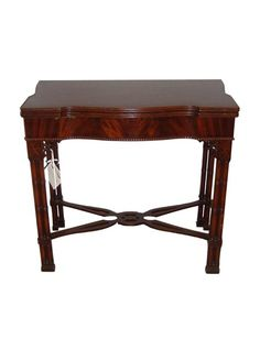 The straight form legs being supported by a carved under carriage make this table structurally sound and stylish. Multi functional this table can be used in any area in the home or office. || TheHighBoy || #highboystyle #antiquesmakeitbetter #antiques #vintage #tables
