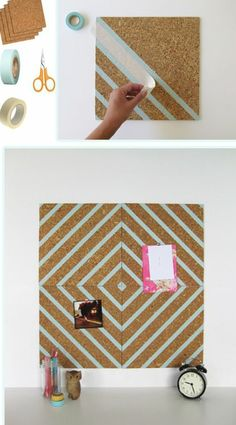 Washi tape embellished cork board for your dorm room Diy Simple, Easy Diy, Diy And Crafts, Arts And Crafts, Washi Tape Diy, Masking Tape, Mt Tape, Washi Tapes, Ideas Para Organizar