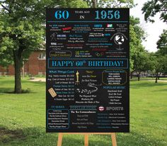 Personalized 60th Birthday Poster Printable, 1956 Chalkboard Poster, 1956 Events, Milestone Birthday - High Resolution Digital File by losunflower on Etsy https://www.etsy.com/listing/262222101/personalized-60th-birthday-poster