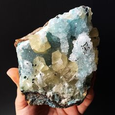 I'm pretty in awe of this piece - bubbly blue deliciousness (Chrysocolla covered in Quartz) with pops of yellow cubes (Calcite) makes for a stunner of a combo. It never ceases to amaze me what nature can do. by able_ground