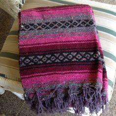 Premium-Color-Large-Mexican-Blanket-Falsa-Southwest-Throw-Serape-Pink-Burgundy