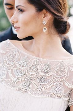 Beaded Marchesa wedd