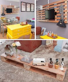 I love the idea of mounting a TV and shelves to the pallet.