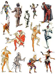 Jesters and Jokers Digital Collage Sheet, Printable Renaissance, Medieval Scrapbooking, Journaling, Ccollage Clipart Renaissance, Clowns, Medieval Jester, Jester Tattoo, Pierrot Clown, Jester Costume, Court Jester, Joker Card, Vintage Clown