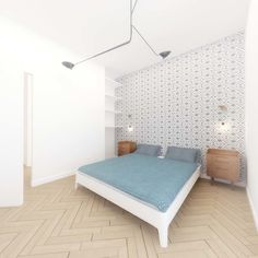 El piso de Irene - dormitorio principal #reforma #renovation #dormitorio #bedoom #blanco #white #madera #wood #papelpintado #wallpaper #iluminacion #lighting