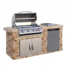 Cal Flame Outdoor Kitchen 4-Burner Barbecue Grill Island with Refrigerator-e6004 - The Home Depot Stainless Steel Grill, Stainless Steel Refrigerator, Stainless Steel Doors, Outdoor Kitchen Sink, Kitchen Bar Counter, Kitchen Tv, Kitchen Grill, Gas Barbecue Grill, Grilling