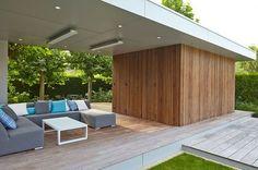 Modern Poolhouse in Trespa en hout | Bogarden