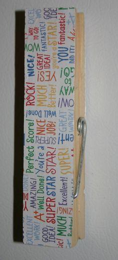 Encouraging Words Jumbo Clothespin by WreathsByKari on Etsy, $7.00
