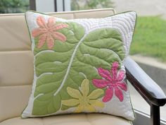 monstera leaf and floral pillow