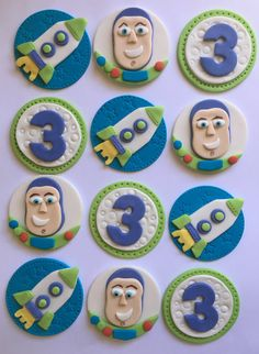 Set of 12 or 24 Buzz Lightyear cupcake toppers by SugaryLand