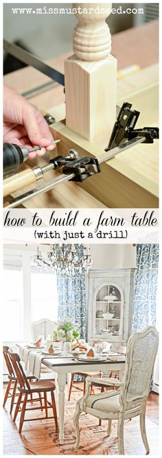 DIY: How to Build a Farm Table - easiest tutorial for building a table - ever! The only power tool needed is a drill - Miss Mustard Seed