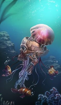 All About Art Tattoo Studio Rangiora. Quality work by Professional Artist. Underwater Tattoo, Underwater Art, Jellyfish Tattoo, Jellyfish Art, Jellyfish Drawing, Ocean Tattoos, Octopus Tattoos, Sea Of Thieves, Skeleton Art
