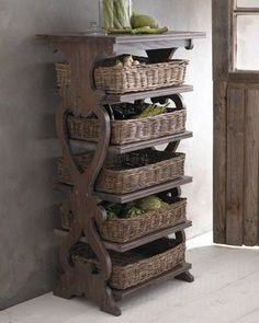 Basket Etagere eclectic storage and organization---dream storage for pantry to contain potatos, onions & such Storage Baskets, Kitchen Storage, Kitchen Decor, Kitchen Shelves, Kitchen Pantry, Rustic Kitchen, Storage Boxes, Diy Kitchen, Into The Woods