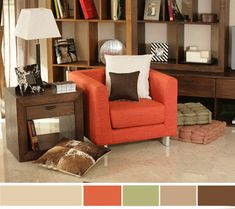 living room color schemes   | Orange green ideas for spring decorating, neutral interior paint ...