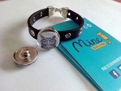 Pulseras de cuero con botón intercambiable #click #snap #button 4€ #buho #diseño #design #handmade #bisutería #complementos #mine