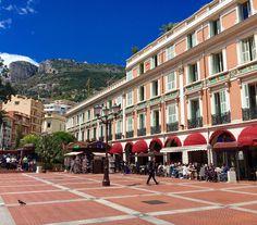 The square at 1:30pm, Monaco, where the Marché de la Condamine is held.