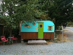 funky trailer used as changing rooms for shop- Galiano Island BC (photo Stephen Coles)