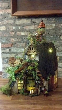 Lighted fairy garden house