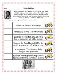 This timeline activity for Ruby Bridges is a sample activity from my ...