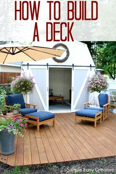 Do you have weekend plans? Learn how easy it is to build this ground level deck! #deck #farmhouse #ad @Thompsonswseal
