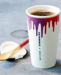 Buy Starbucks® Band of Outsiders Double Wall Ceramic Traveler - Rainbow, 12 fl oz. Band Of Outsiders, Rainbow Painting, Drip Painting, Starbucks Coffee Tumbler, Starbucks Store, Ceramic Coffee Cups, Creative Decor, Mug Cup, Artwork Design