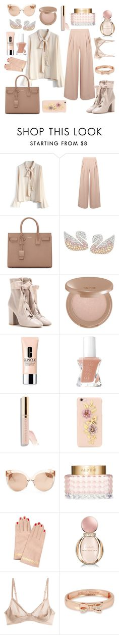 """blushing"" by queenie-de-angelis ❤ liked on Polyvore featuring Chicwish, Antipodium, Yves Saint Laurent, Swarovski, Valentino, tarte, Clinique, Beautycounter, Dolce&Gabbana and Linda Farrow"