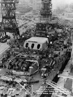 16 in South Dakota class battleship USS Alabama fitting out at Norfolk, Virginia, July 1942.