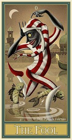 The Fool ©Patrick Valenza.  http://lilywight.com/2012/09/15/deviant-moon-tarot-patrick-valenza/