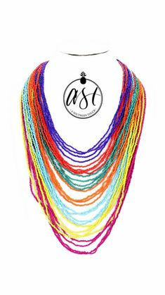 Multi Layer Beaded Necklace in Rainbow | asoutherntouchsc