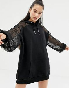 Buy Ivy Park lace detail hoodie dress in black at ASOS. With free delivery and return options (Ts&Cs apply), online shopping has never been so easy. Get the latest trends with ASOS now. Source by dress Girls Fashion Clothes, Teen Fashion Outfits, Girl Fashion, Girl Outfits, Edgy Outfits, Korean Outfits, Cute Casual Outfits, Mode Kpop, Hoodie Dress
