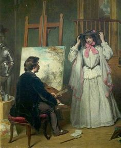 William Powell Frith (English, 1819 - 1909)_The Artist's Model - 1856