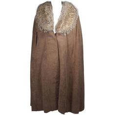 Preowned Nolan Miller Brown Suede Cloak With Fox Fur Collar ($1,495) ❤ liked on Polyvore featuring outerwear, brown, capes, brown cape, cape cloak, nolan miller, brown cloak and cloak cape