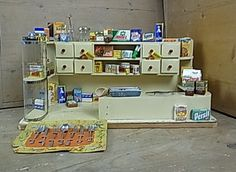 Dollhouse Toy Groceries Store 55 Parts Wood Plastic Vintage Dollhouse Toys, Dollhouse Miniatures, Vintage Barbie, Vintage Toys, German Store, Mini Doll House, Grocery Store, Dolls, Antiques