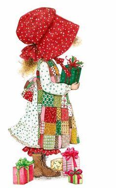 Holly Hobbie by Sarah Kay Vintage Christmas Cards, Christmas Images, Christmas Art, Vintage Cards, Holly Christmas, Christmas Holidays, Holly Hobbie, Decoupage, Sara Key Imagenes